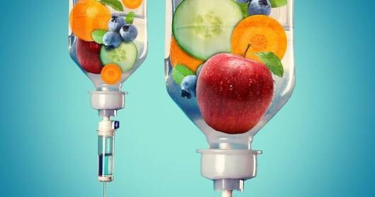 IV drip containing fruits and vegetables