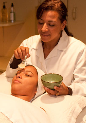 guest receiving a facial treatment
